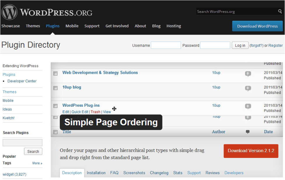 Sample Page Ordering Plugin