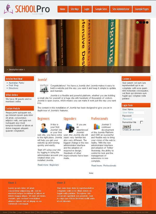 Free School Joomla Template
