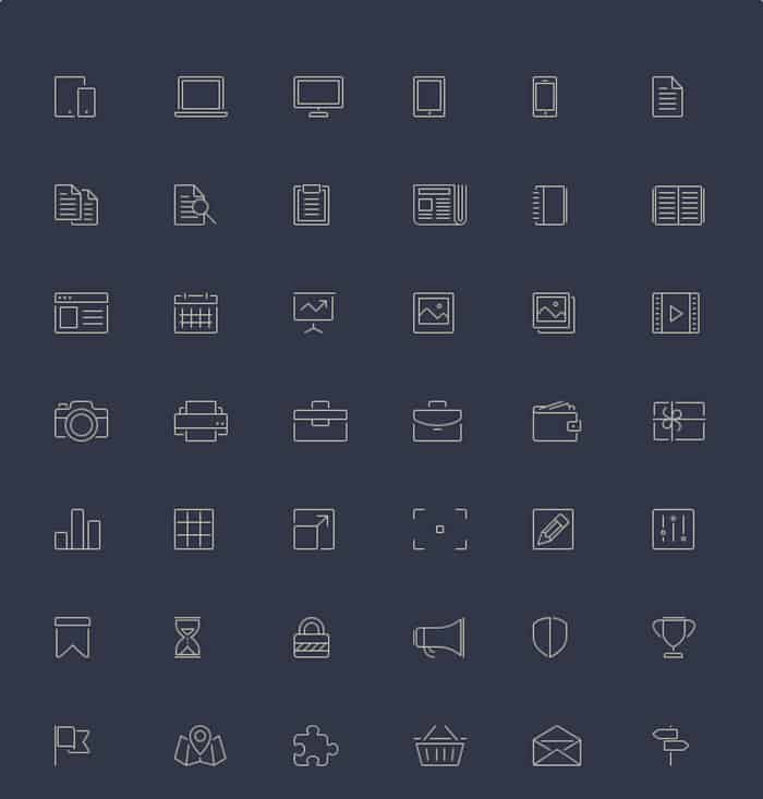 100 Free Line Style Icons