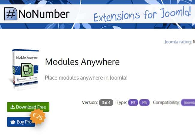 NoNumber Modules Anywhere - awesome free Joomla Extension for beginners