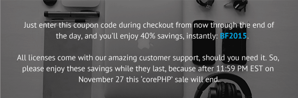corePHP black friday coupon