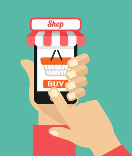clicking buy now button on an mobile commerce site