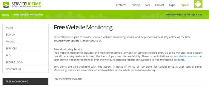service uptime a monitoring service for your website