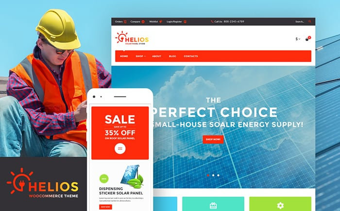 Helios - Solar Panels and Accessories Store WooCommerce Theme