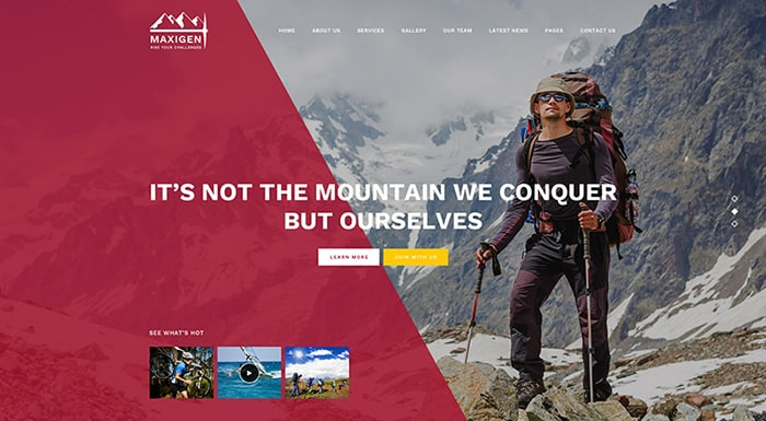 Maxigen - Hiking WordPress Theme