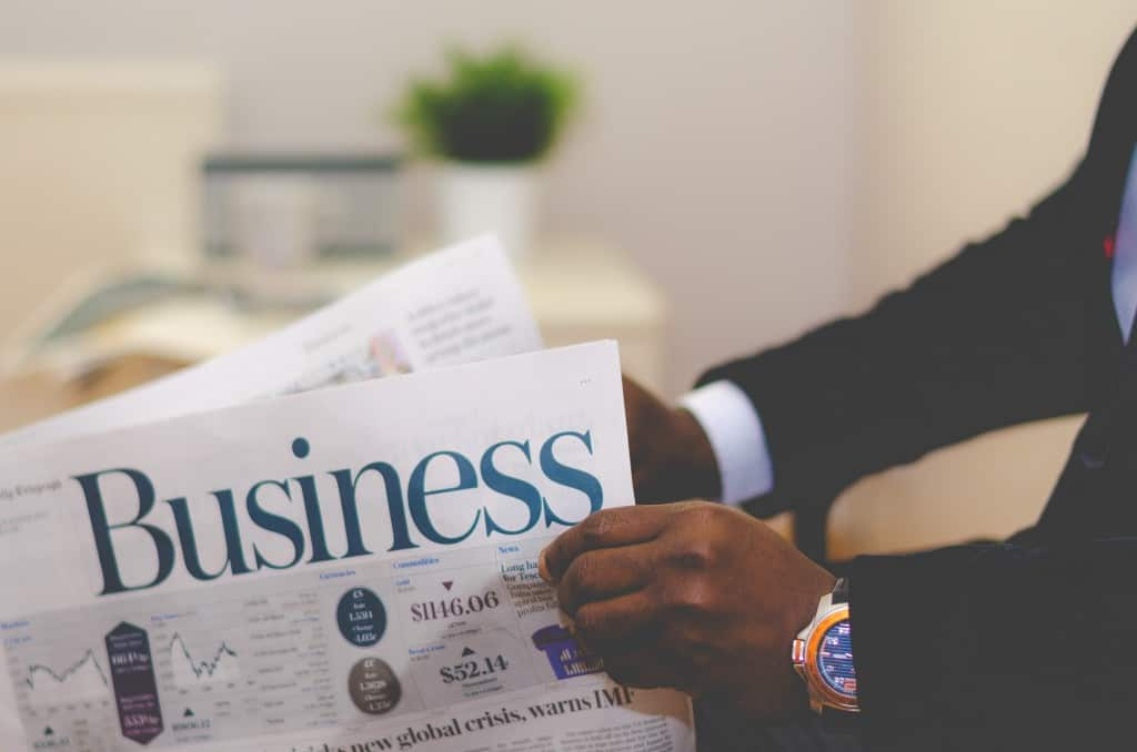 business on a newspaper