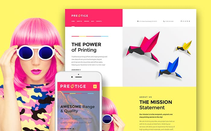 Bright-Colored Digital Printing WordPress Template