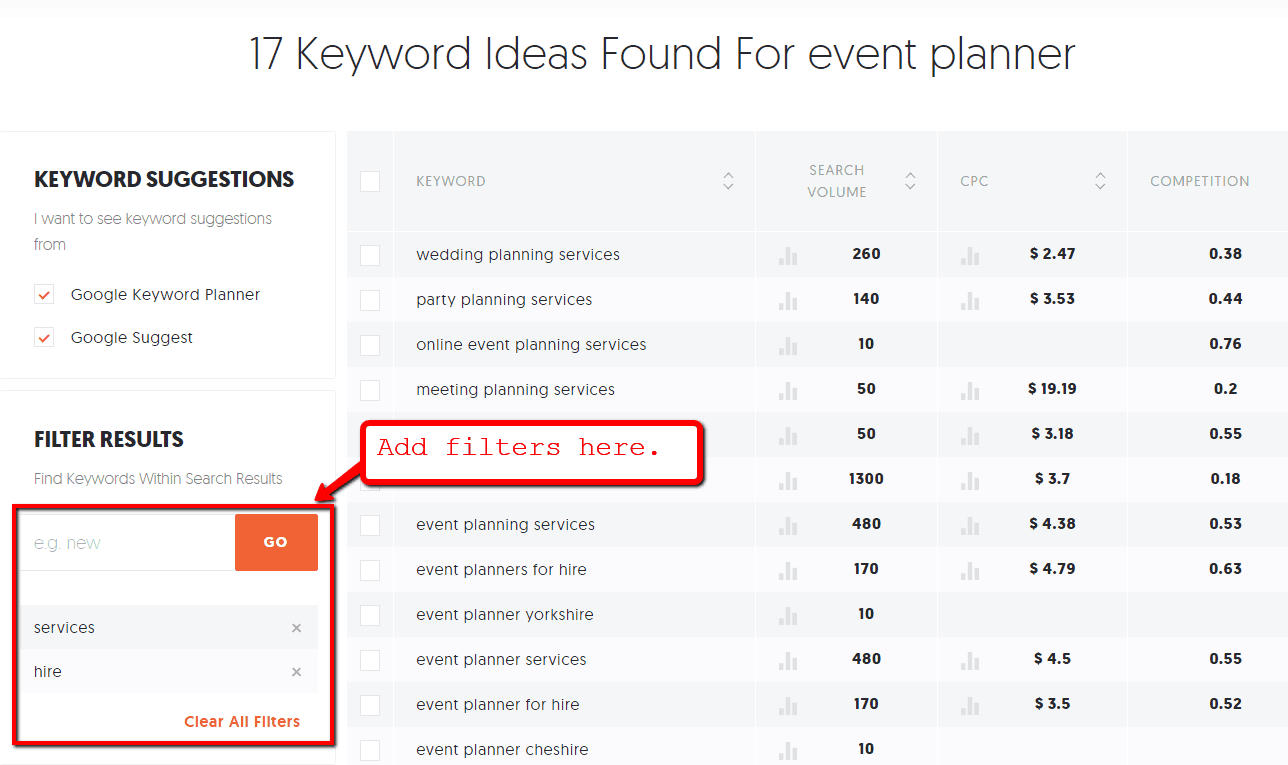 17 keyword ideas found on event planner for the landing page