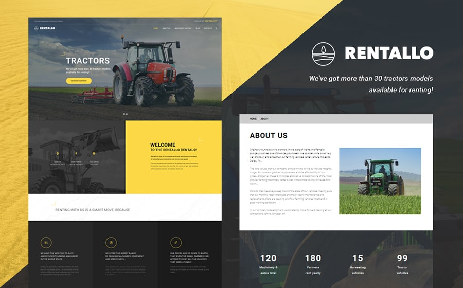 Farming Machinery Rentals WordPress Theme