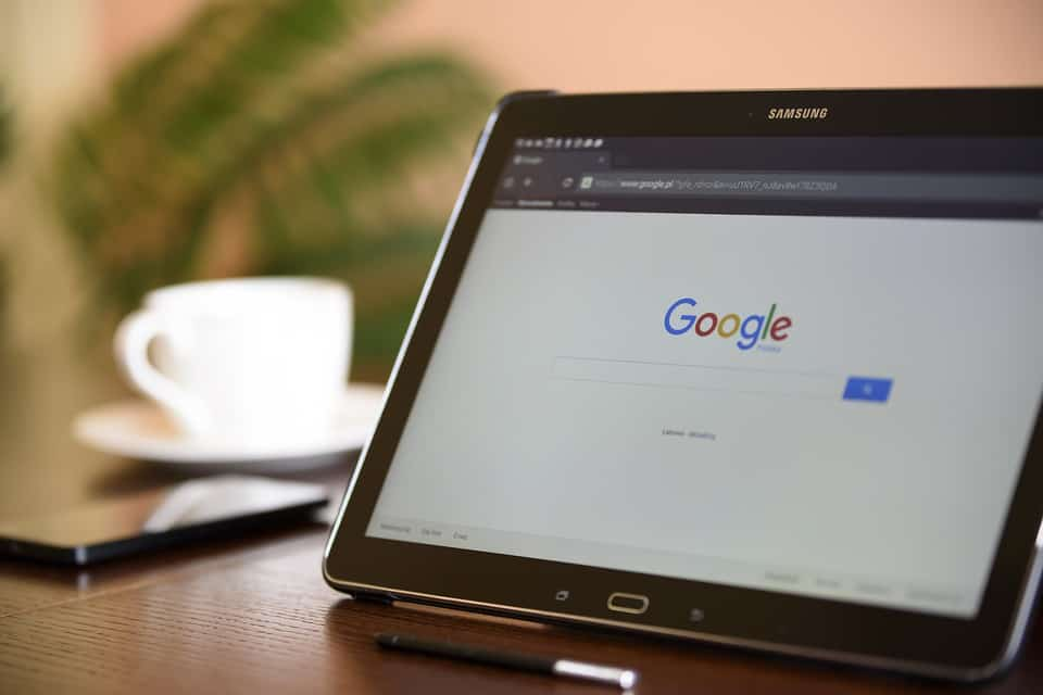 google search on an samsung tablet