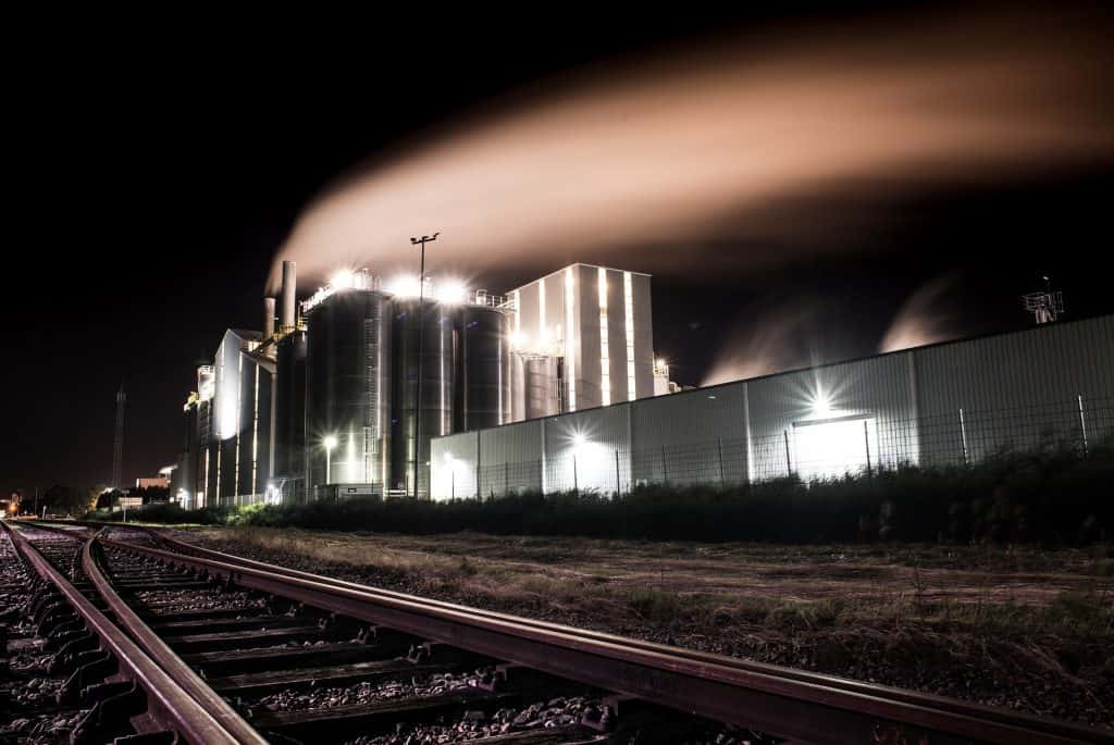 Manufacturing Factory at night time