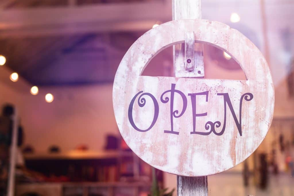 Small Businesses open sign