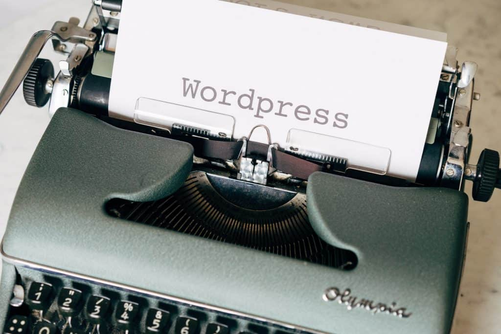 WordPress written on a typewriter