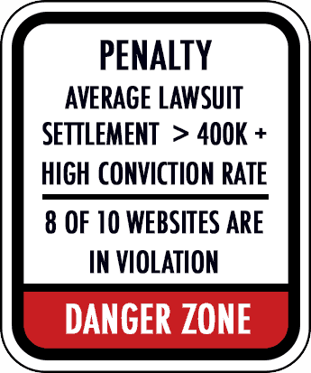 Penalty: Average lawsuit settlements are greater than $400,000 with a high conviction rate. 8-10 websites are in violation. Danger zone!