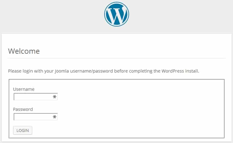 configuring Wordpress for Joomla step 1