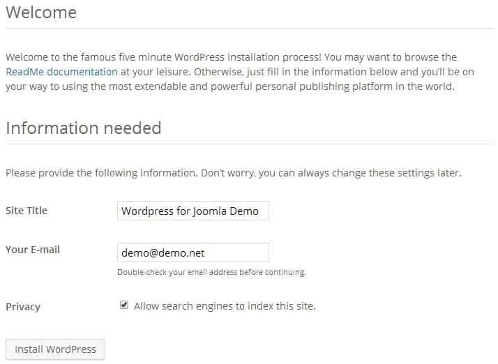 Configuring Wordpress for Joomla Step 2
