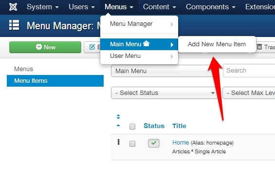 create a new menu item in joomla